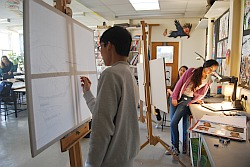 The easels in use at Myton School