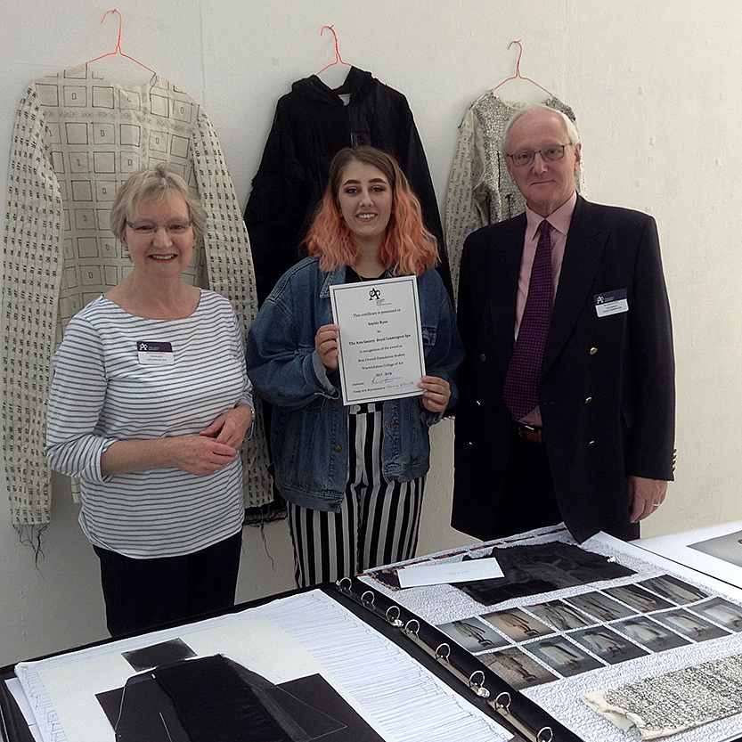 Sophie Ryan, with Edwina McConville and Sahun Pitt from The Arts Society, Royal Leamington Spa