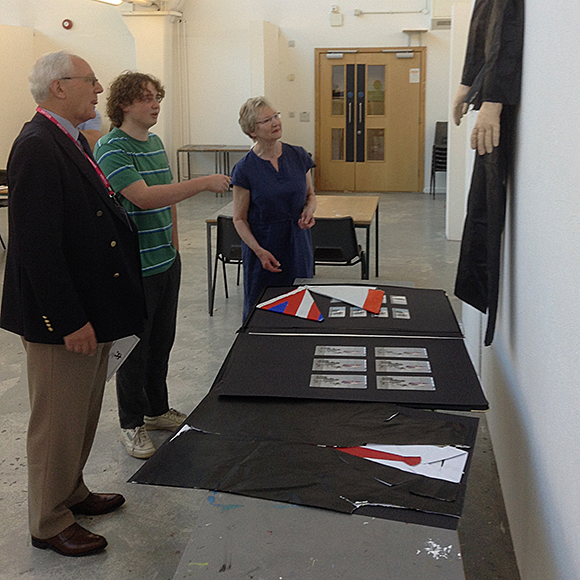 Jem Crook, with Edwina McConville and Shaun Pitt from The Arts Society Royal Leamington Spa