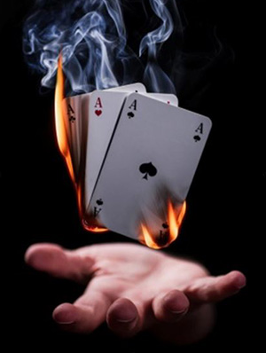 Burning playing cards